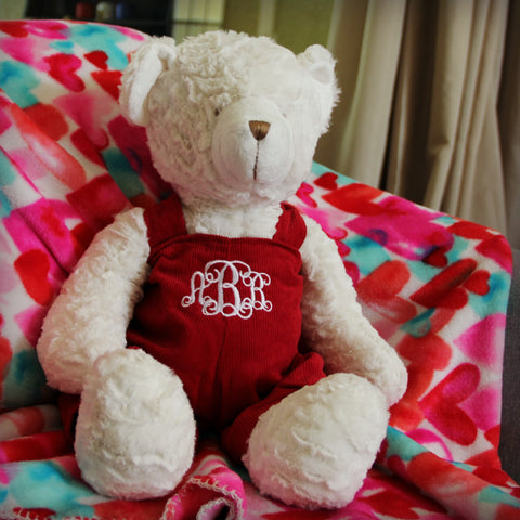 Sweet and Soft Monogrammed Bear in Red