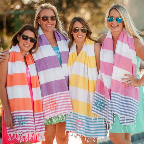 Monogrammed Striped Turkish Towel  - Available in Several Colors