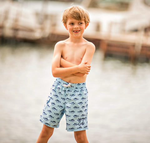 Monogrammed Boys Swim Trunks in Crabs, Sail or Fish