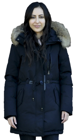 CANAV LUCIE<br>Polyfil avec Vraie Fourrure<br>Manteau d'hiver<br>Noir ou Army|CANAV LUCIE<br>Polyfil with Genuine Fur<br>Winter Coat<br>Black or Army