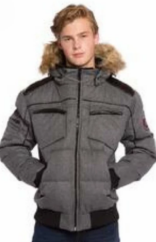 OXYGEN BOMBER GRIS<br> 50% Duvet avec Vraie Fourrure<br>Manteau d'hiver|OXYGEN BOMBER GREY<br> Down 50% with Genuine Fur<br>Winter Coat