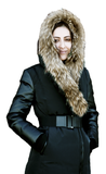 CANAV MARALYN<br>Polyfil avec Vraie Fourrure<br>manches en Cuirette<br>Manteau d'hiver|CANAV MARALYN<br>Polyfil with Genuine Fur<br>Leatherette sleeves<br>Winter coat