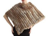 Poncho en Vraie Fourrure<br>Natural ou Noir|Genuine Fur Poncho<br>Natural or Black