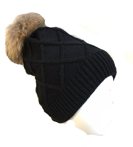 DIAMOND TUQUE<br>pompom en vraie fourrure <br>Vraie Fourrure|DIAMOND HAT<br>pompom in Genuine Fur