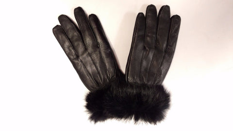 Gants en Cuir <br>avec fourure du lapin|Leather Gloves<br>with rabbit fur trim