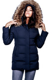 OOKPIK  SABINE COURT<br>90%Duvet avec Vraie Fourrure <br>Manteau d'hiver<br>Noir - Bleu|OOKPIK SABINE SHORT<br>90% Down with Genuine Fur<br>Winter Coat<br>Black - Navy