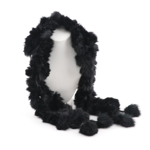 Foulards en Vraie Fourrure Noir <br>Couleur Noir|Genuine Black Fur Scarf<br>Black Fur
