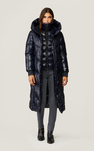 SOIA KYO DANICA <br>Thermolite EcoMade sans fourrure<br>Manteau d'hiver<br>Noir - Marine| SOIA KYO DANICA<br>Thermolite EcoMade with no fur<br>Winter Coat<br>Black - Navy