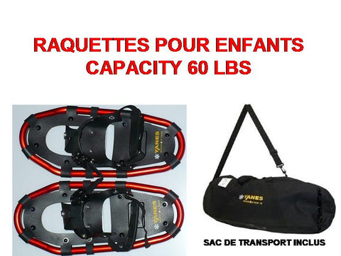RAQUETTE YANES MOUNTAIN PASS<br>CAPACITÉ 60 Lbs<br>POUR ENFANTS|YANES MOUNTAIN PASS<br>CAPACITY 60 Lbs<br>FOR CHILDREN