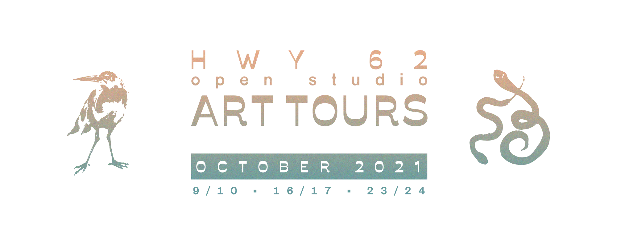 Hwy 62 Open Studios Art Tours October 2021 9/10, 16/17, 23/24. Illustrations of a raven and two snakes on a white background.