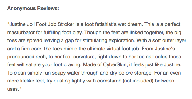 Justine Joli Foot Job Stroker Masturbator review