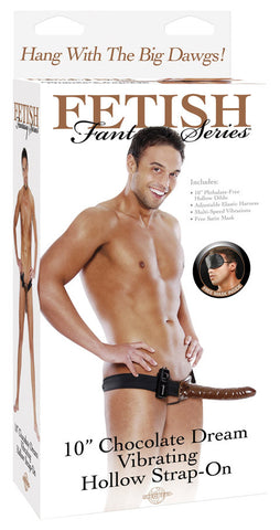 10 Inch Chocolate Dream Vibrating Hollow Strap-On - SexToysEstore.com - 1
