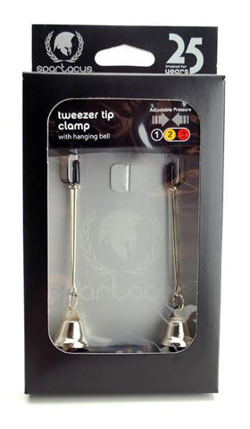 Adjustable Tweezer Nipple Clamps with Bells - SexToysEstore.com - 1