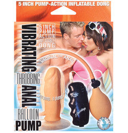 Vibrating Throbbing Inflatable Anal Butt Plug Balloon Pump with Suction Cup