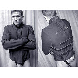 Black Canvas Straitjacket with Leather Straps in action