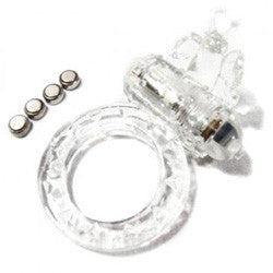 Ring of Xtasy Clear Butterfly Vibrating Cock Ring