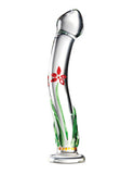 Icicles No. 21 Hand Blown Glass Dildo #21 - Clear with flowered Stem - SexToysEstore.com - 1