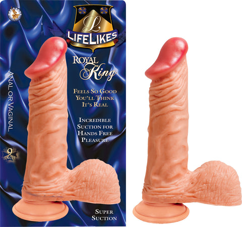 Lifelikes King 9 Inch Suction Cup Straight Dildo beige