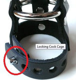 Stockroom Locking Chastity Leather Cock Cage closeup