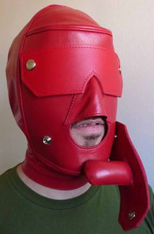 Red Slave Hood with Snap-On Leather Gag and Blindfold