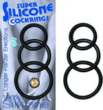 Super Silicone Cock Rings Waterproof - 3 Sizes - Black or Blue - SexToysEstore.com - 1