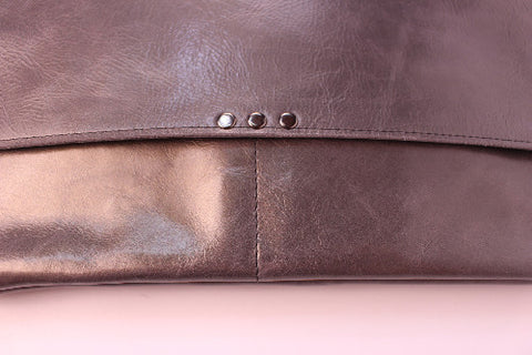 Mae Bag, Pewter Leather W/ Brown Detail
