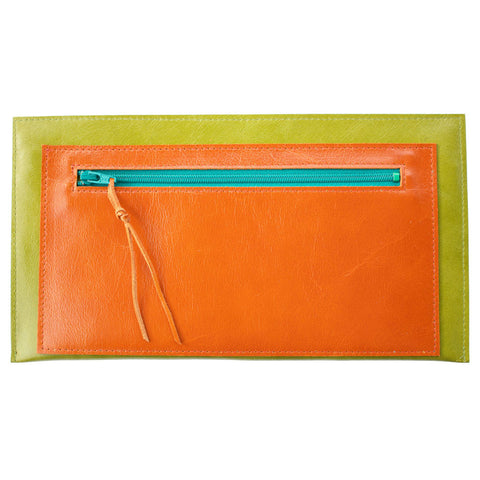 Janet Clutch in Green & Orange Leather