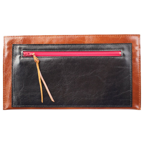 Janet Clutch in Brown & Black Leather