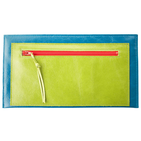Janet Clutch in Blue & Green Leather