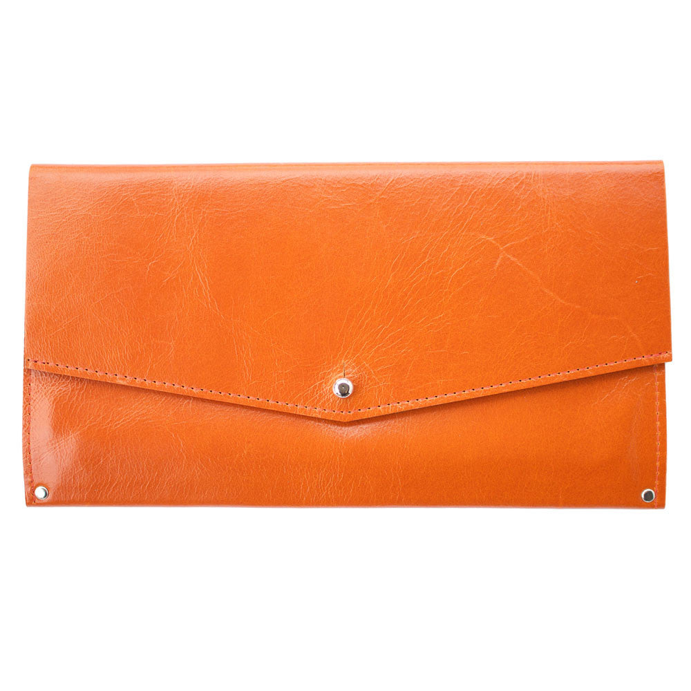 Mae Wallet in Orange Leather