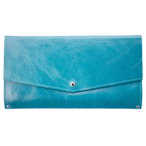 Mae Wallet in Blue Leather