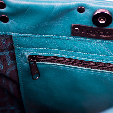 Voda Market Tote in Blue Leather