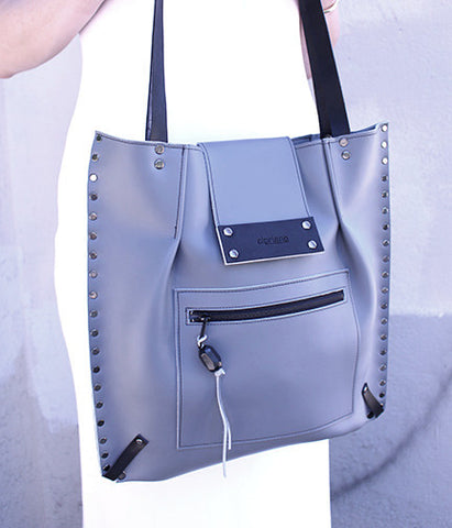 Anna Bag in Gray Leather - Block Printed Interior