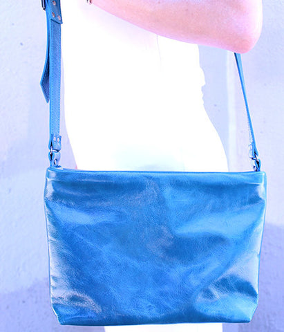 Nakita Crossbody Bag in Ocean Blue Leather
