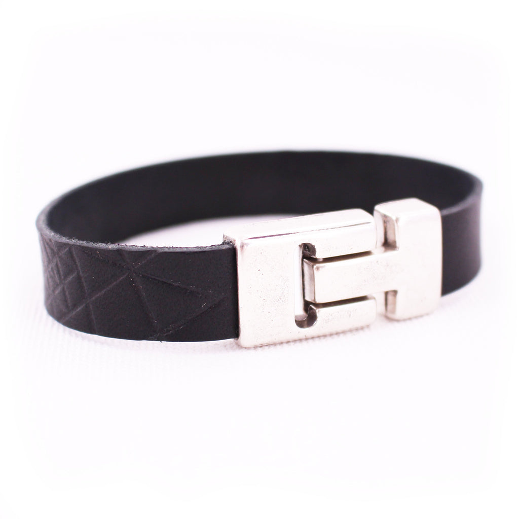 Bridle Wrist Wrap - Black Leather