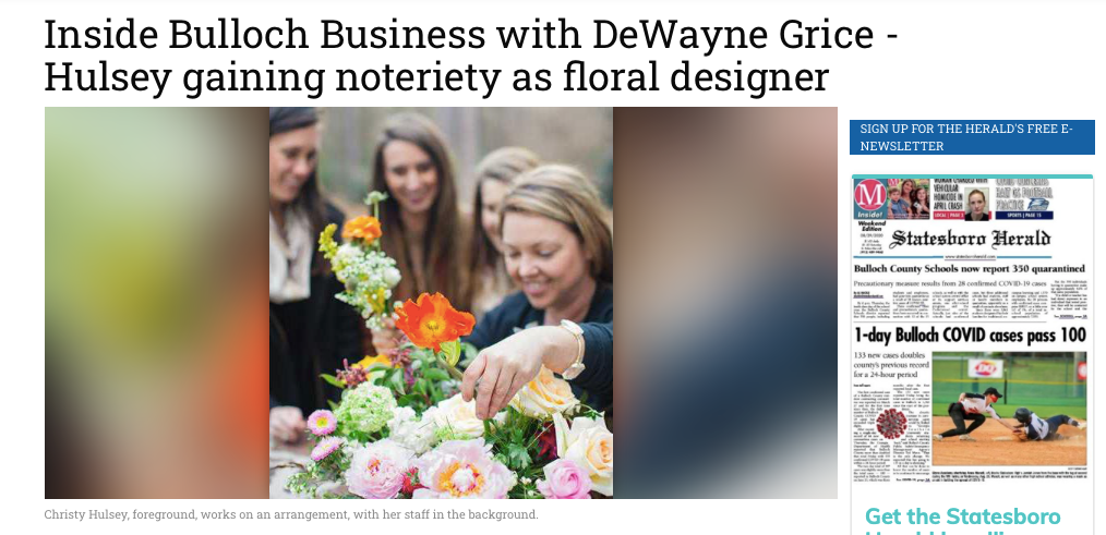 Featured: Inside Bulloch Business with DeWayne Grice - Hulsey Gaining notoriety as floral designer, Statesboro Herald