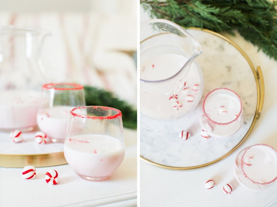 WINTER PARTY CHRISTMAS PEPPERMINT SCHNAPPS COCKTAIL DRINK RECIPE WITH POTTERY BARN