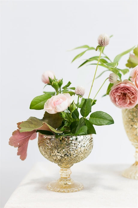 Gold Glass Compote Shipping Gift With Little Flowers