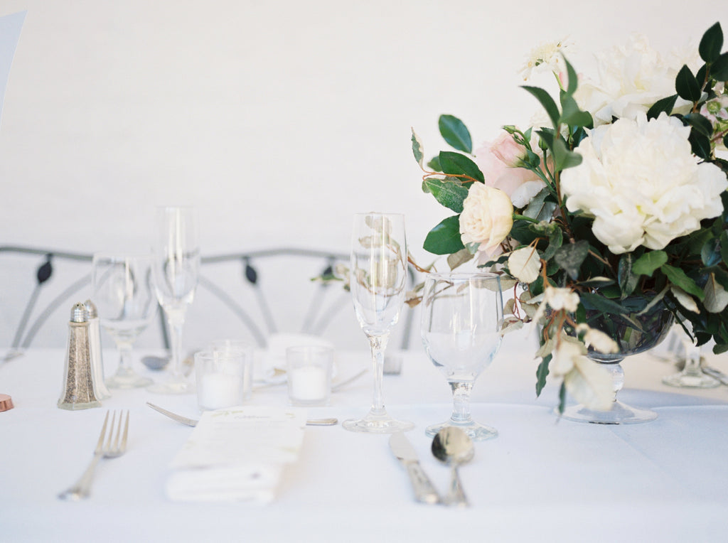 WHITE PEONY PLUS FORMAL TABLE SETTING DECOR AT JEKYLL ISLAND GEORGIA BY COLONIAL HOUSE OF FLOWERS