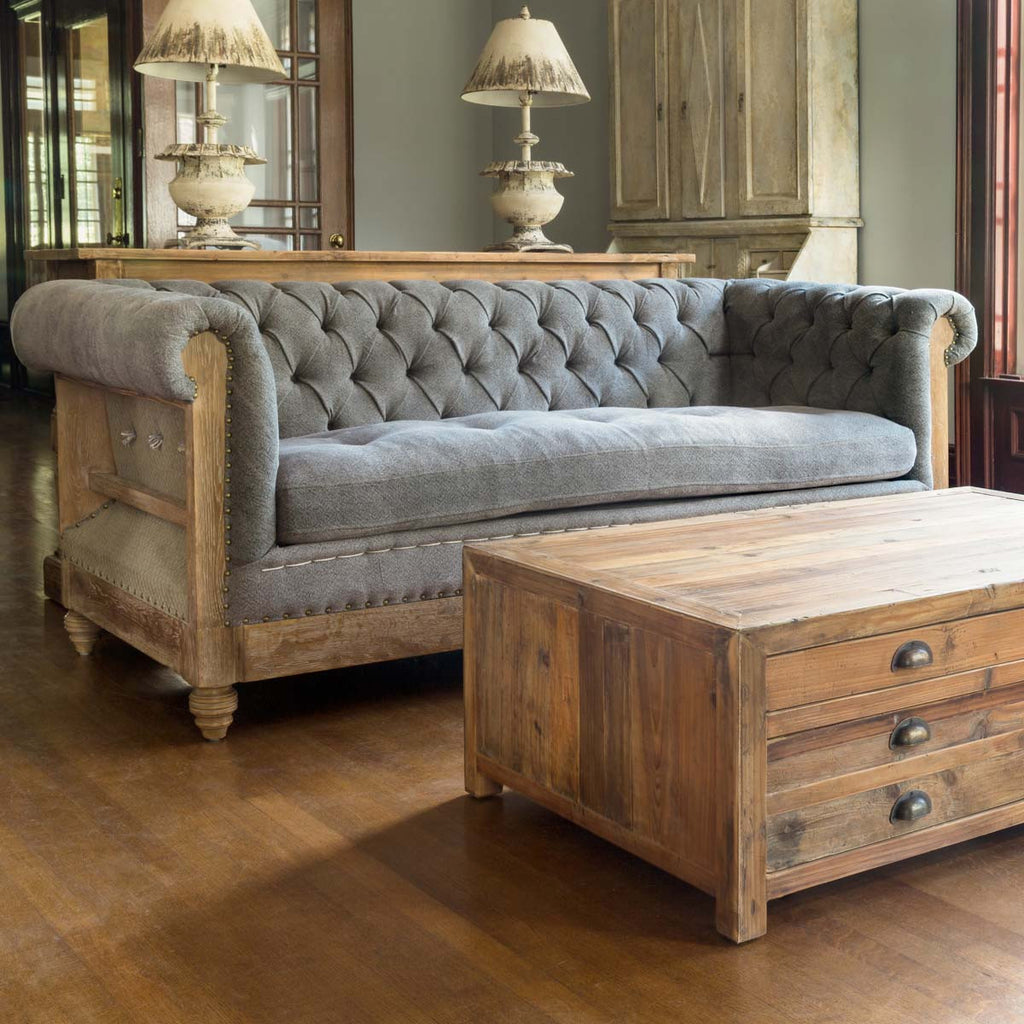 Capital Hotel Chesterfield Tufted Urban Farmhouse Sofa by Colonial House of Flowers
