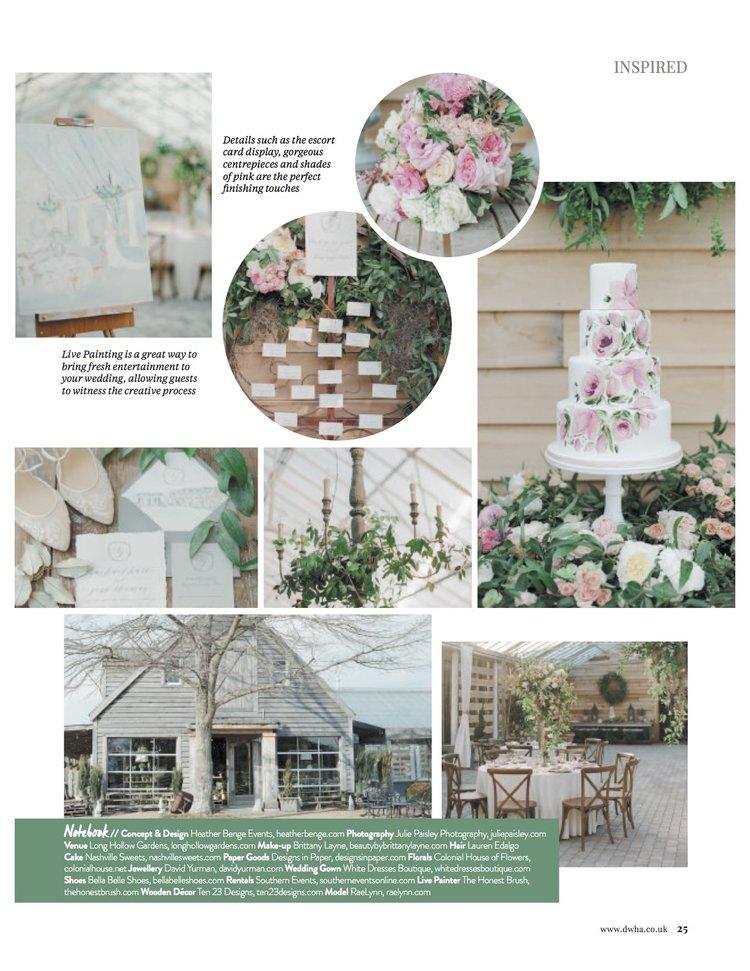 Country Music Super Star RaeLynn Wedding Flowers With Colonial House of Flowers (Atlanta, Georgia) at Long Hollow Gardens in Nashville Tennessee | Photography by Julie Paisley | Floral featuring pink white green peony rose ranunculus flowers | International Wedding + Honeymoon Magazine, November December 2017 Issue