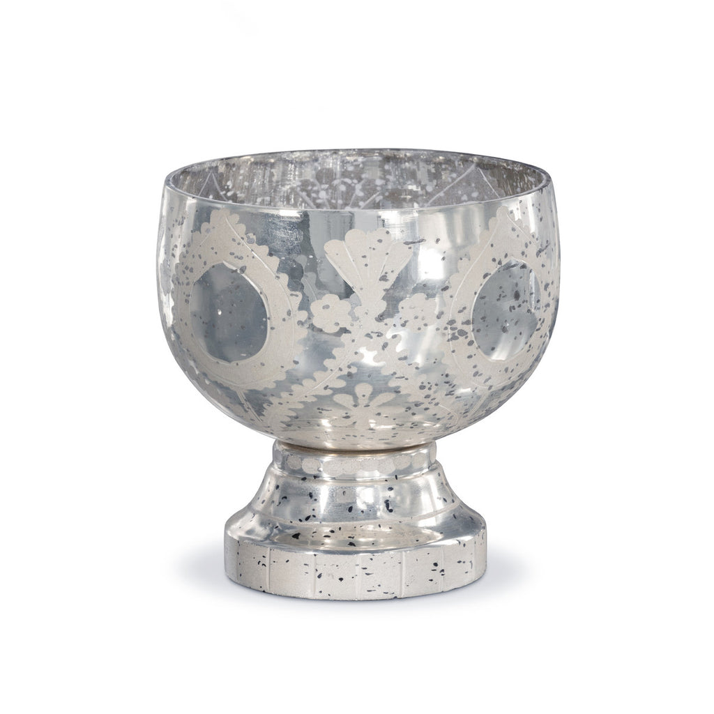 Etched+Mercury+Glass+Compote+Colonial+House+Of+Flowers+Home+Decor