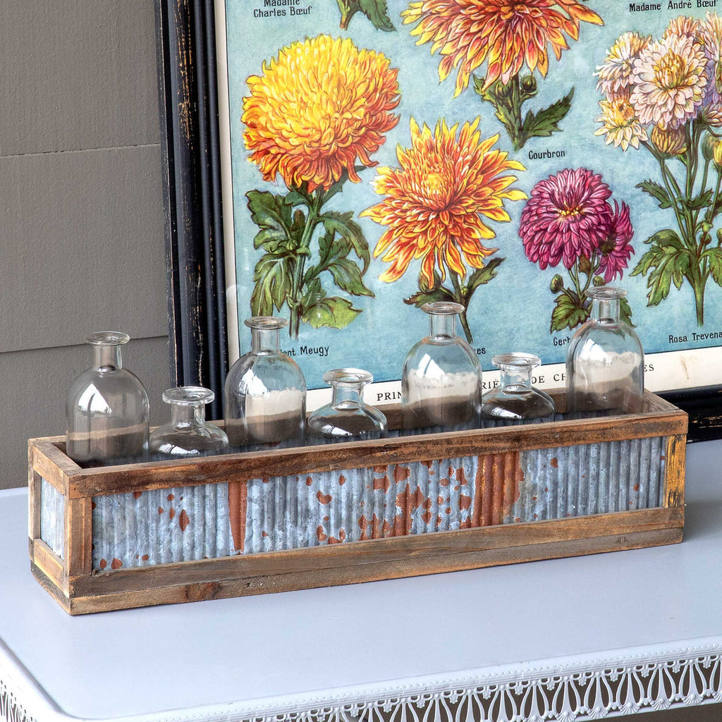 Tin Sided Boxed Bottle Centerpiece