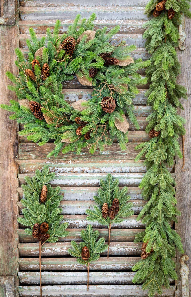 Faux Artificial Natural Realistic Looking Fir Pine Picks For Home and Craft Decor Projects shipping from Colonial House of Flowers in Atlanta, Georgia