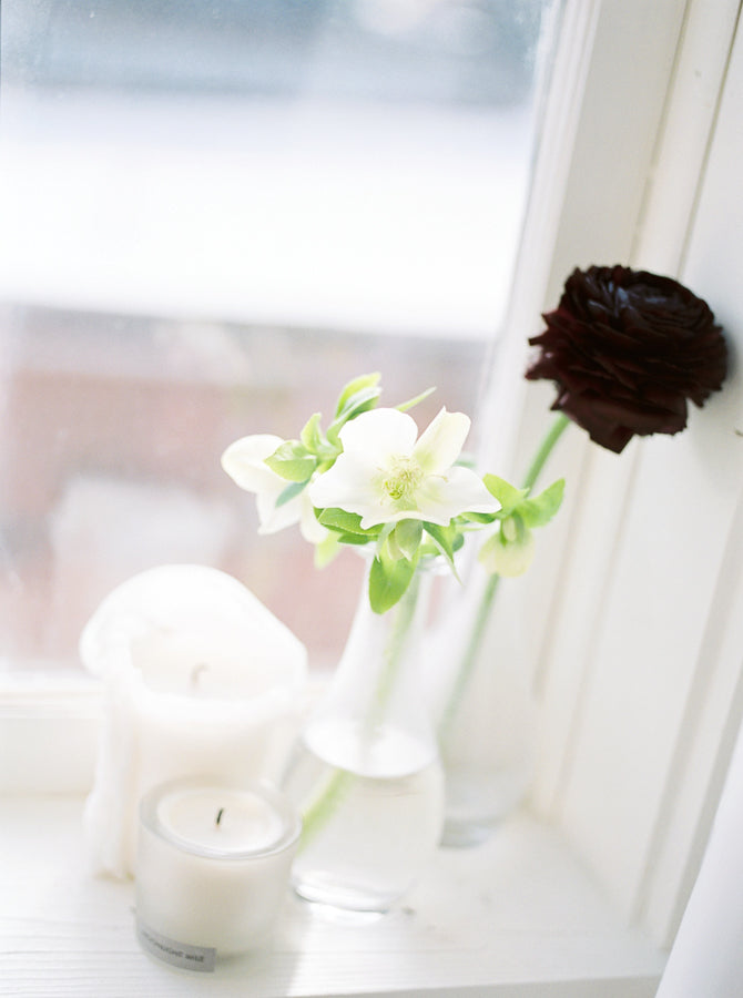 Best White And Black Ranunculus Budvases in Window by Colonial House of Flowers