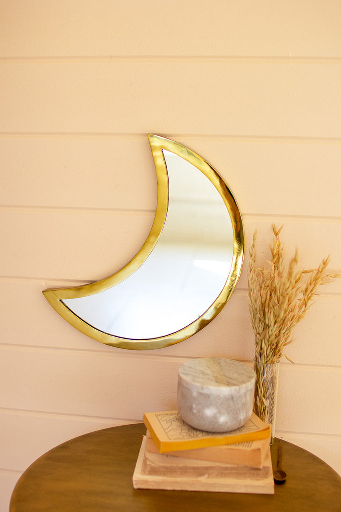 Crescent Moon Mirror With Gold Brass Trim On Wall With Pampas Grass Accent Decor