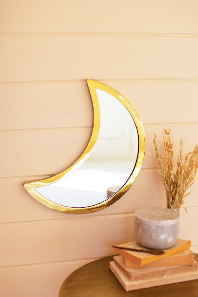 Boho Gold Mirror In A Crescent Moon Shape On Wall Decoration