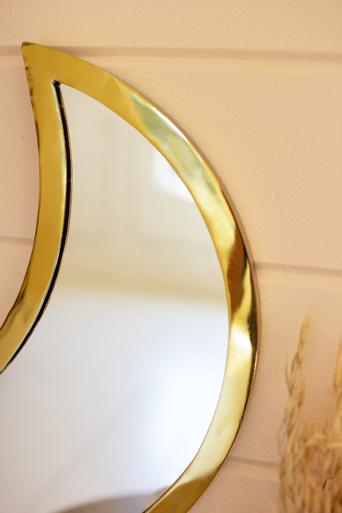 Detail Shot of Top of Gold Crescent Moon Mirror