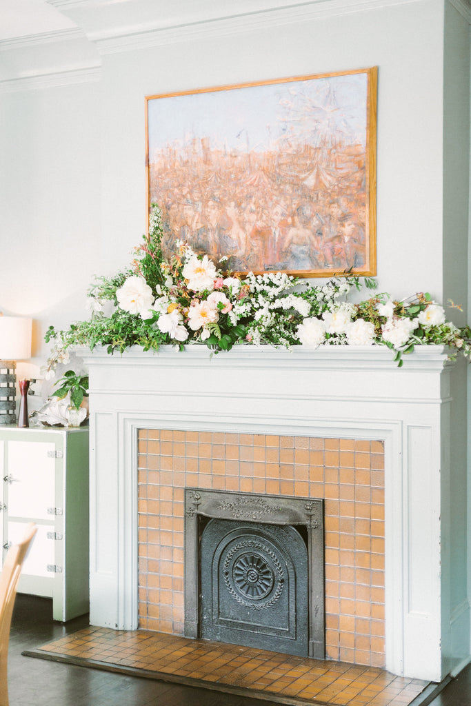 DIY Flowers for your Fireplace Mantel by Christy Hulsey of Colonial House of Flowers, Atlanta, Georgia