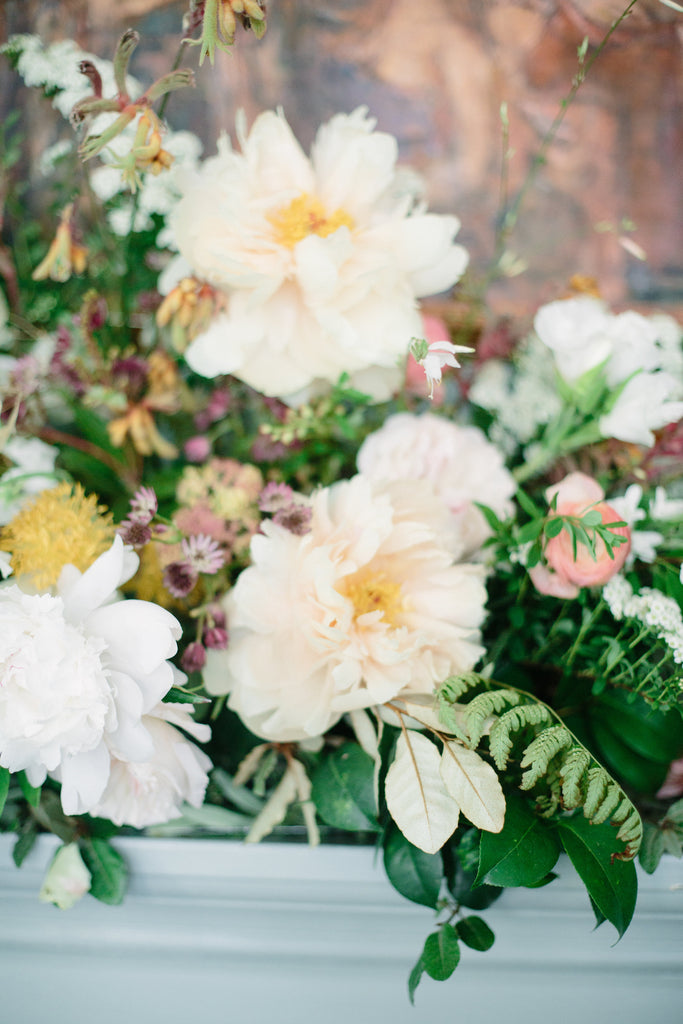 DIY Flowers for your Fireplace Mantel Home Decor by Christy Hulsey of Colonial House of Flowers, Atlanta, Georgia  With Peonies